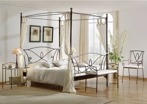 lit en fer forg lit a baldaquin chambre a coucher adulte. Black Bedroom Furniture Sets. Home Design Ideas