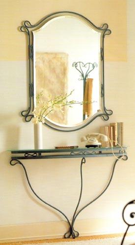 Miroir commode console en fer forg for Miroir fer forge noir