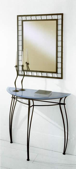 Miroir commode console en fer forg for Miroir et console