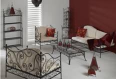 salon de jardin canapé fauteuil en fer forgé