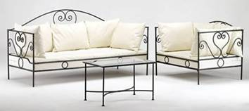Salon de jardin canap fauteuil en fer forg for Mobilier de jardin en fer forge